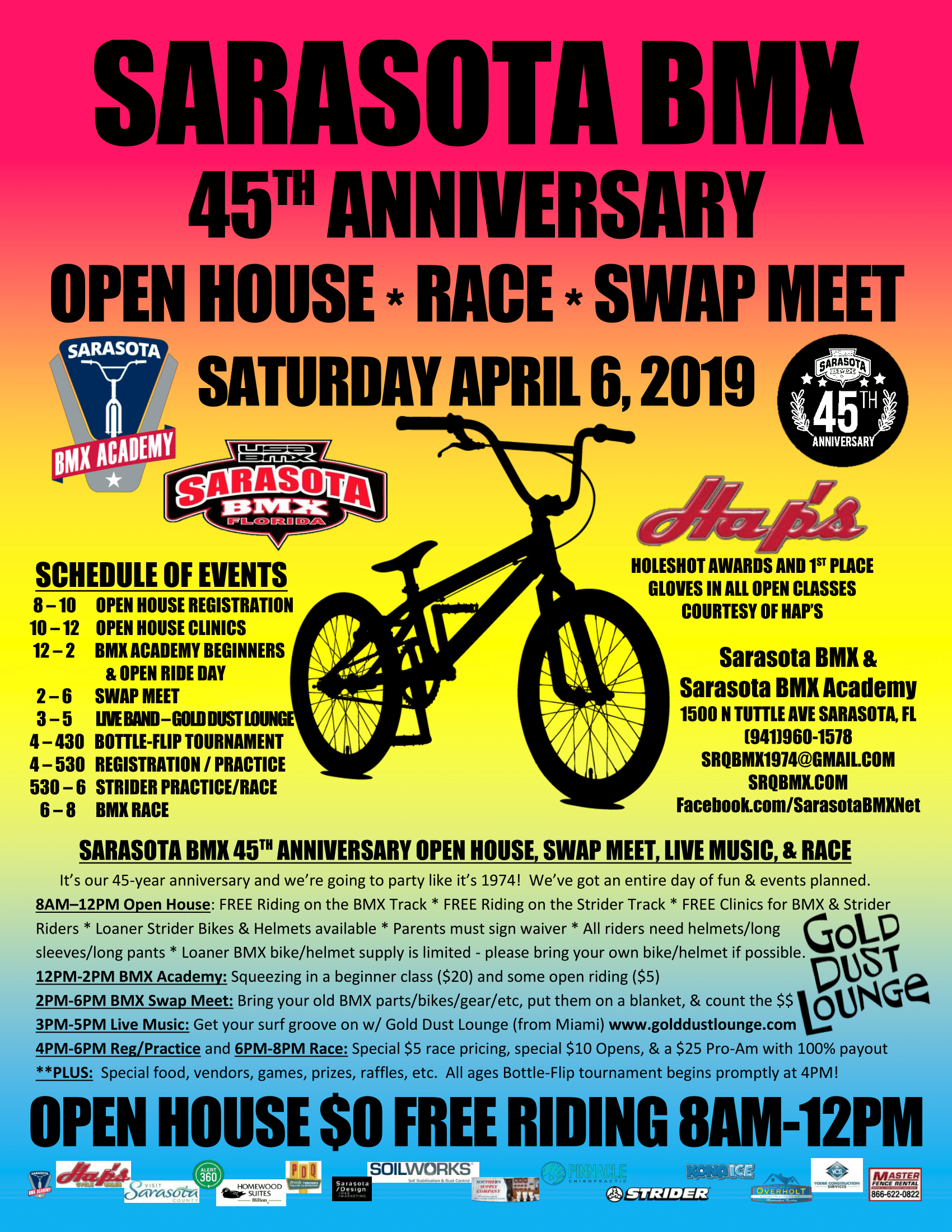 45th Anniversary Open House, Swap Meet, and Race